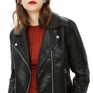 Topshop Rosa Biker Jacket, Black Size 4-6 (fits 2)